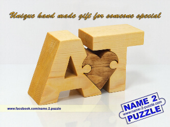 letter A and letter T personalized initials wooden puzzle