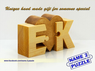 letter E and letter K personalized initials wooden puzzle
