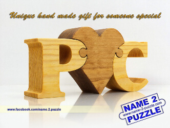 letter P and letter C personalized initials wooden puzzle